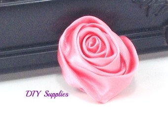 "2"" light coral rolled rosettes - satin flower - rolled satin flower - wholesale flowers - fabric flower - rolled rose"