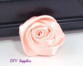 """2"""" Pale peach rolled rosettes - satin flower - rolled satin flower - wholesale flowers - fabric flower - rolled rose"""