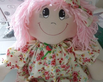 hand made rag doll personalised embroidered message available