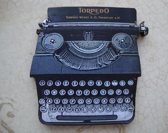 Vintage Typewriter Brooch or Magnet - Whimsical Typewriter Brooch w/Vintage Illustrations on Laser Cut Wood -  Secretary Legal Assistant
