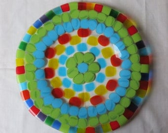 Fused glass plate is great for any style. Mosaic bright colors and flower center cake plate a dish for decorating and serving