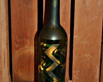Lighted Chevron etched, wine bottle