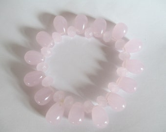 "Rose Quartz,  Bracelet - Beautiful Faceted Rounds Combined with Precious Drops - Stretch - 7"" Adjustable - Healing Stone"