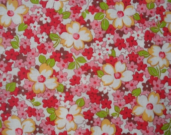 "Fat Quarter of Lecien Retro 30's Child Smile Floral Fabric. Approx,18""x 22"" Made in Japan"