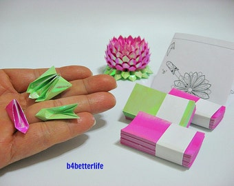 A size Small Violet Red Color Origami Lotus plus 300 sheets of DIY Paper Folding Kit. (AV Paper Series). #LPK-02.