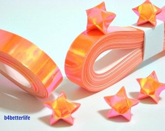 200 strips of Orange Color DIY Origami Lucky Stars Medium Size Paper Folding Kit. 24.5cm x 1.2cm. (AV Paper Series). #SPK-167.