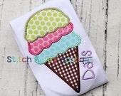 Ice Cream Cone Machine Applique Design