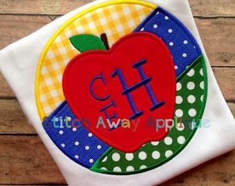 Circle Apple Back to School Machine Applique Design