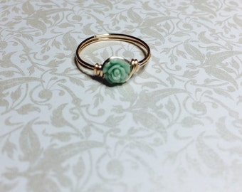 Tiny Mint green Rose ring