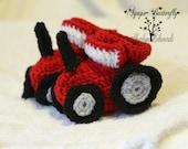 Crochet Tractor Baby Booties - Red - 0-6 Months