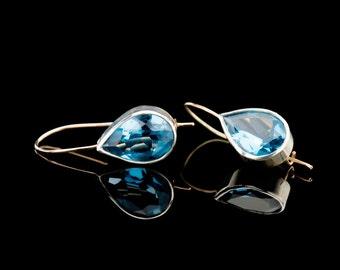Blue Topaz earrings, Drop earrings with blue gemstone, November birthstone earrings, Topaz jewelry    FREE SHIPPING!!!