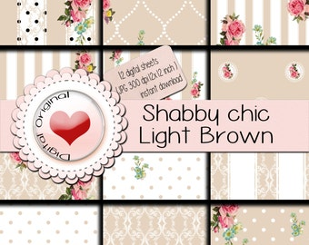 Shabby chic Light brown - 12 digital sheets - 300 ppi - instant download.