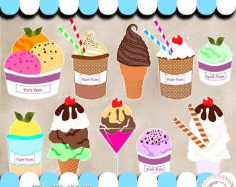 10 Ice cream clipart  -  PNG - transparent background - 300 DPI - instant download.