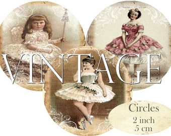 Circles 2 inch French Ballerina Ballet Vintage Instant Download digital collage sheet C220