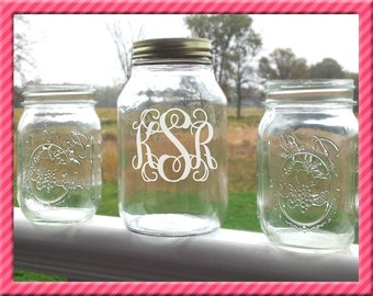 Personalized Mason Jar with etched Vine Monogram For Unity Sand Ceremony, includes 2 smaller basic mason jars