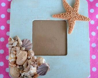 Seashell Frame - Blue - Distressed w Starfish