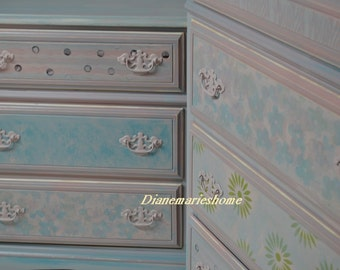 Dresser & Chest Childs Bedroom Duo . Flowers, Blues, Greens .Pinks  Perfect Nursery set Sold