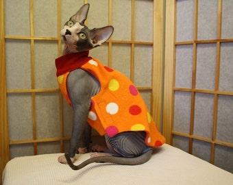 Orange with Polka Dots Sphynx Clothing