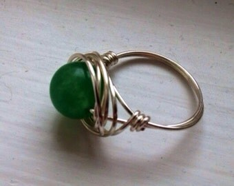 Green Wire Wrapped Ring for st. Patrick's Day
