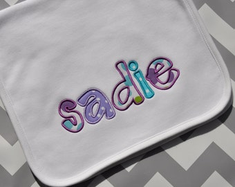 Appliquéd Baby Burp Cloth- Personalized with Name