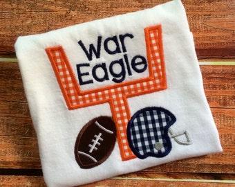 Applique Auburn Tiger Football Shirt or Onesie - Field goal