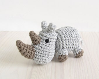 PATTERN: Rhino - Small crocheted rhino pattern - Miniature amigurumi animal - Crochet tutorial with photos (EN-022)
