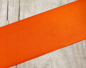 "Orange Ribbon - 2 -1/2 inch Double Sided ""Torrid Orange"" Satin Ribbon / Sash - 1 yard"