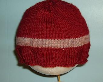 Burgundy hat with pink stripe
