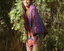 Shanti Poncho - Kashmiri Poncho Hoodie Pixie Festival Boho Gypsy Hippie Style