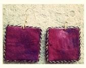 Fuschia tye-dye fabric unique square shaped handmade earrings