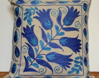 SALE SILK SUZANI Cushion Cover from Uzbekistan Hand Embroidered/Home Decor/Natural Cotton Canvas