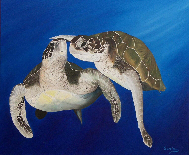 Medium original oil painting sea turtles for Turtle fish paint