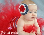 Custom Made to Order Handmade Crochet Baby Girl Patriotic Flower Tieback Headband & Tutu Dress Set/Costume/ Photography Prop/ JoellaCrochet