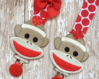 Baby Pacifier Clip - Sock Monkey