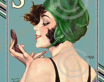 Gorgeous Art Deco Print,Henry Clive,Rare Smart Set Girl,Vixen, Swimming Cap, Cosmetic,Putting on lipstick,Giclee Fine Art Print,11x14,1926