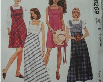 Misses Jumper or Sundress in 2 Lengths  Sizes 14-16-18 EASY McCalls Pattern 8269 Petite-Able, Easy to Sew  UNCUT Pattern Dated 1996