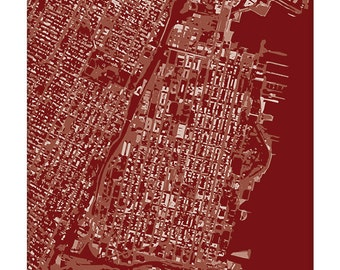 Hoboken Cityscape / New Jersey City Map Art Print / Choose your color / 8x10 / Abstract Aerial Map