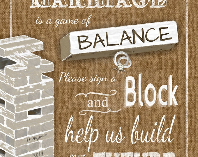 Personalized Sign a block Wedding Sign - We Personalize YOU Print -  DIY - Burlap Collection
