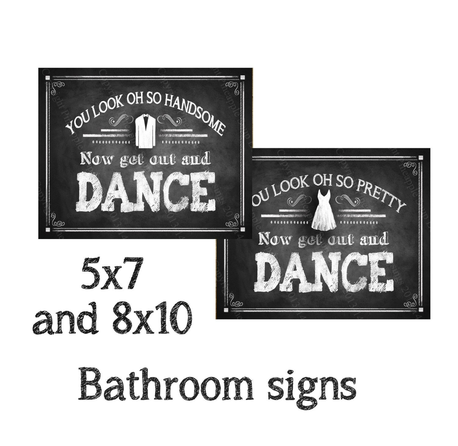 Bathroom Signs, Chalkboard Style Get Out And Dance Bathroom Signs, Wedding Bathroom Signs