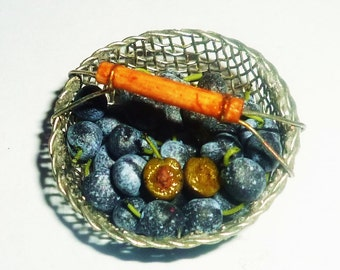 Dollhouse miniature plums,plums in a colander,fruit by Victoriya Kova (IGMA)1:12
