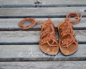 Pointy Gun Metal Studded Unisex Spartan Children's Greek Summer Leather Gladiator style Sandals - Natural color leather