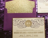 Purple & Gold Glitter Letterpress Wedding Invitation, Gold Glitter Wedding Invite, Purple Invitation, Monogram - Sample Set
