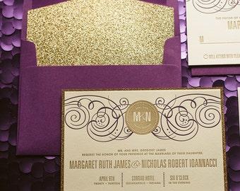 Purple & Gold Glitter Wedding Invitation, Gold Glitter Wedding Invite, Purple Invitation, Monogram - Deposit to Get Started
