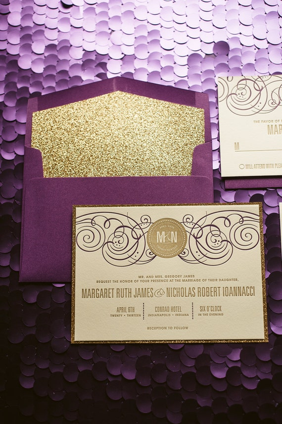 Purple & Gold Wedding Invitation, Gold Glitter Wedding Invite, Purple Invitation, Monogram - Sample Set