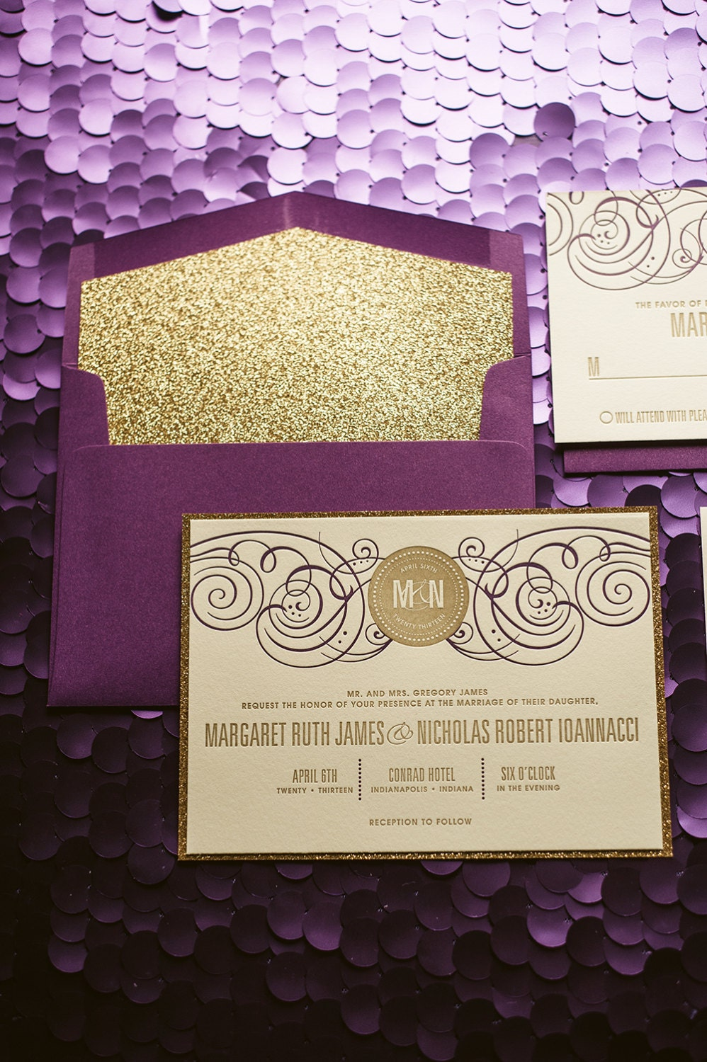 purple gold glitter wedding invitation purple and gold wedding Gold Glitter Wedding Invite Purple Invitation Monogram zoom