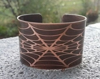 Spider Web Halloween Etched Copper Cuff Halloween Jewelry Spider Web