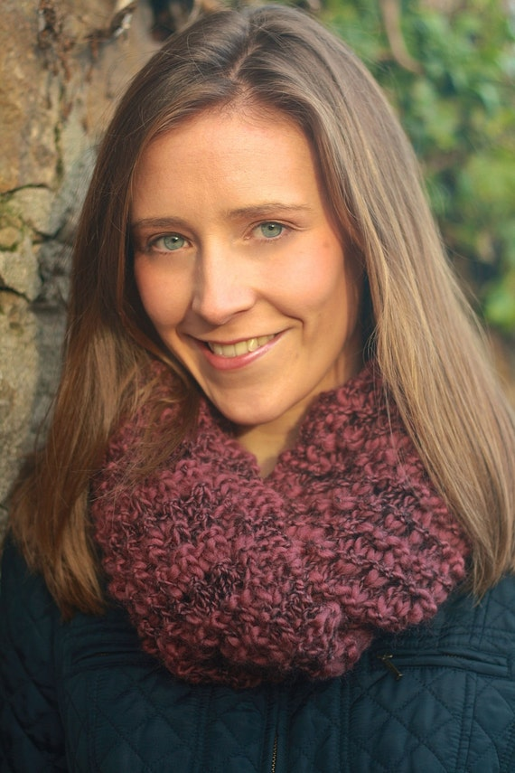 Snood Knitting Pattern Double Knit : KNITTING PATTERN - Berry Snood (Chunky Knit Scarf, Infinity Scarf, Double Len...