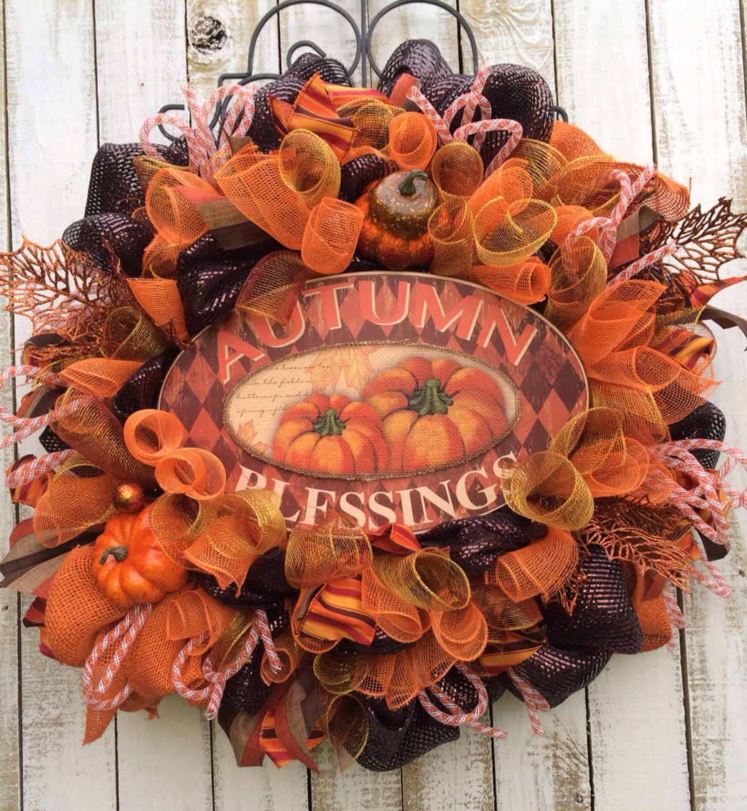 Fall wreath fall decoration fall door hanging by babamwreaths for 3 wreath door decoration