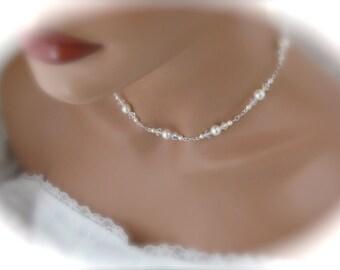 Bridal Pearl Necklace Wedding Jewelry Swarovski Crystal and Pearl Bridal Jewelry