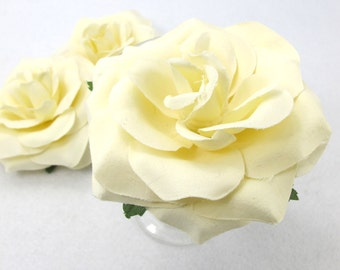 4 Inches Ivory Polyester Rose Shape Flower|Fake Flower|Flower Slip|DIY|Hair Bow Embellishment|Craft Supplies|Brooch|Pin|Hair Accessories